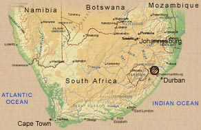 Map South Africa from Durban to Johannesburg